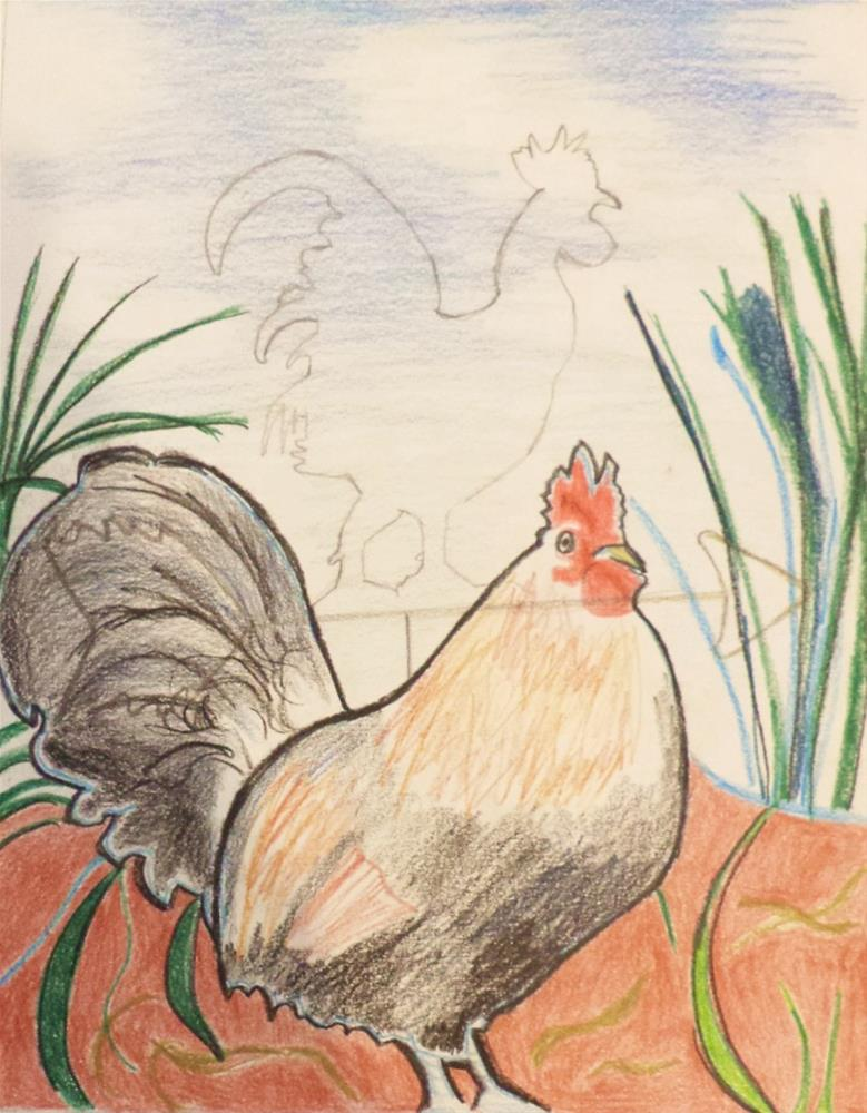 """Drawing of male chicken (cock) and weather vane"" original fine art by tara stephanos"