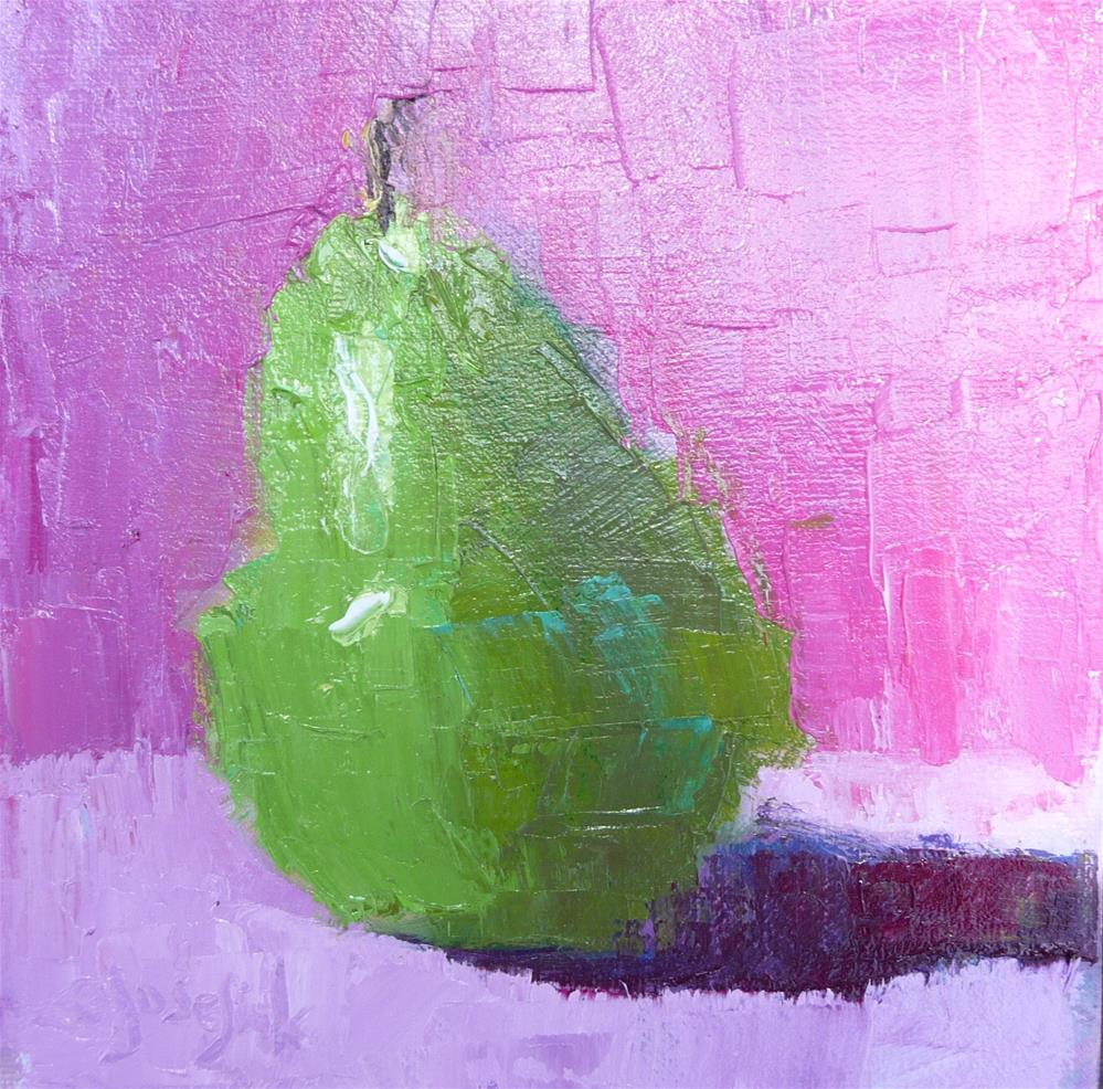 """Pear with Palette Knife"" original fine art by Carol Josefiak"