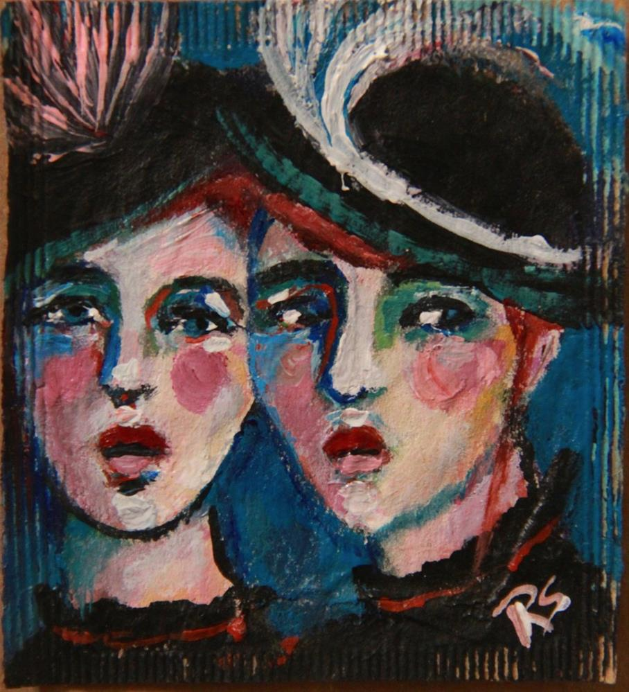 """Tea Bag Portrait - Fashionable Sisters"" original fine art by Roberta Schmidt"
