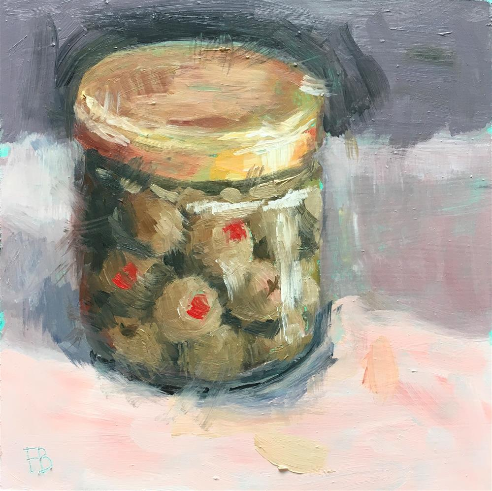 """100 Jar of Olives, free shipping"" original fine art by Fred Bell"