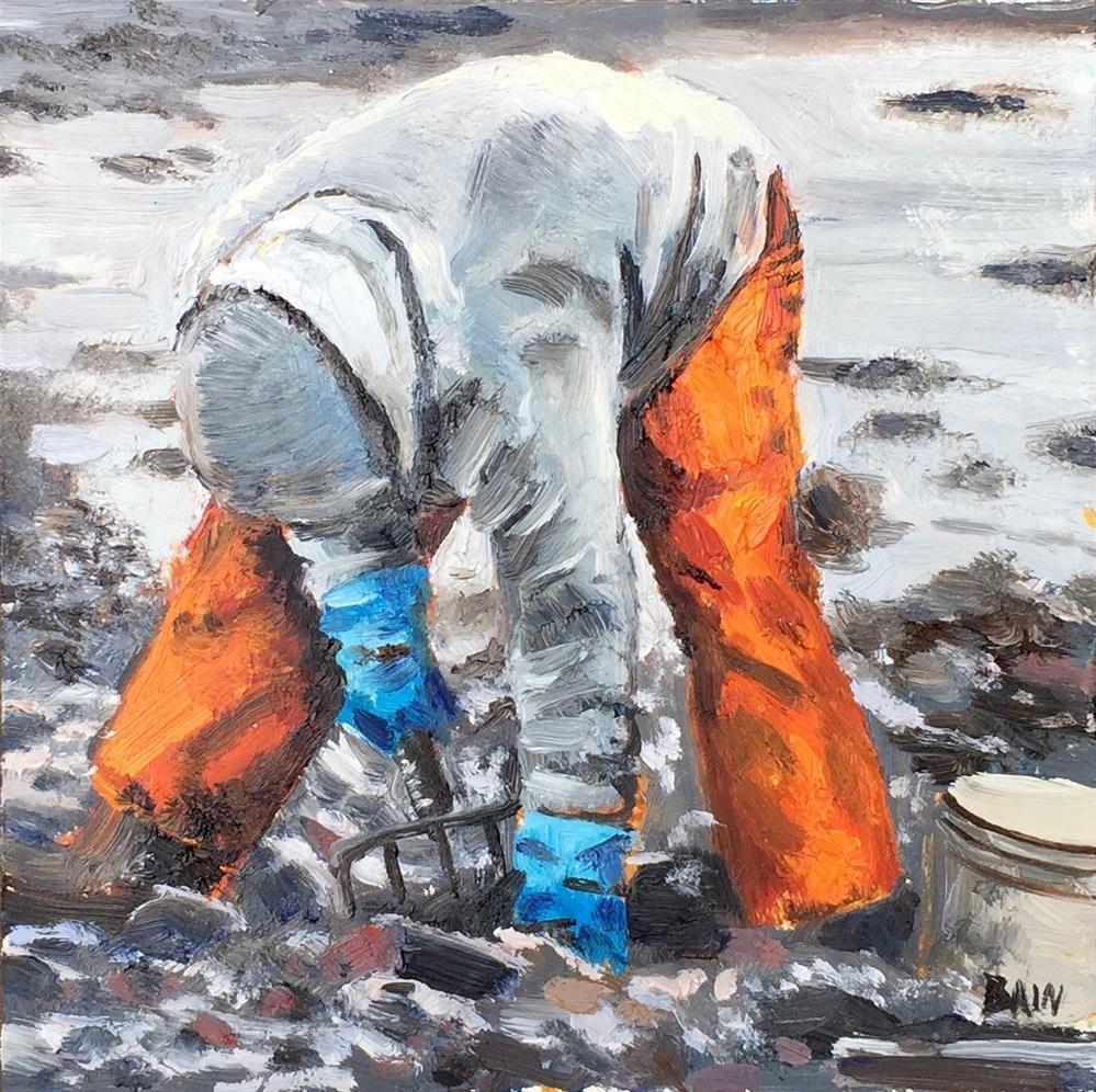 """Orange Waders"" original fine art by Peter Bain"