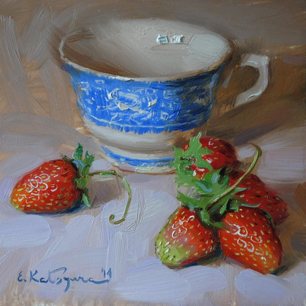 """Teacup and Strawberries"" original fine art by Elena Katsyura"