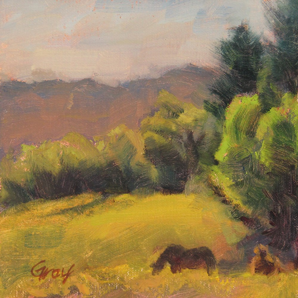 """Horse on Green Pasture"" original fine art by Naomi Gray"