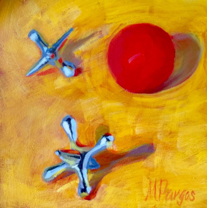 """Ball and Jacks"" original fine art by Mary Pargas"