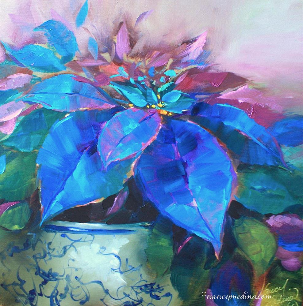 """Painted Ladies Blue Poinsettias and Happy Holidays Flower Friends!"" original fine art by Nancy Medina"