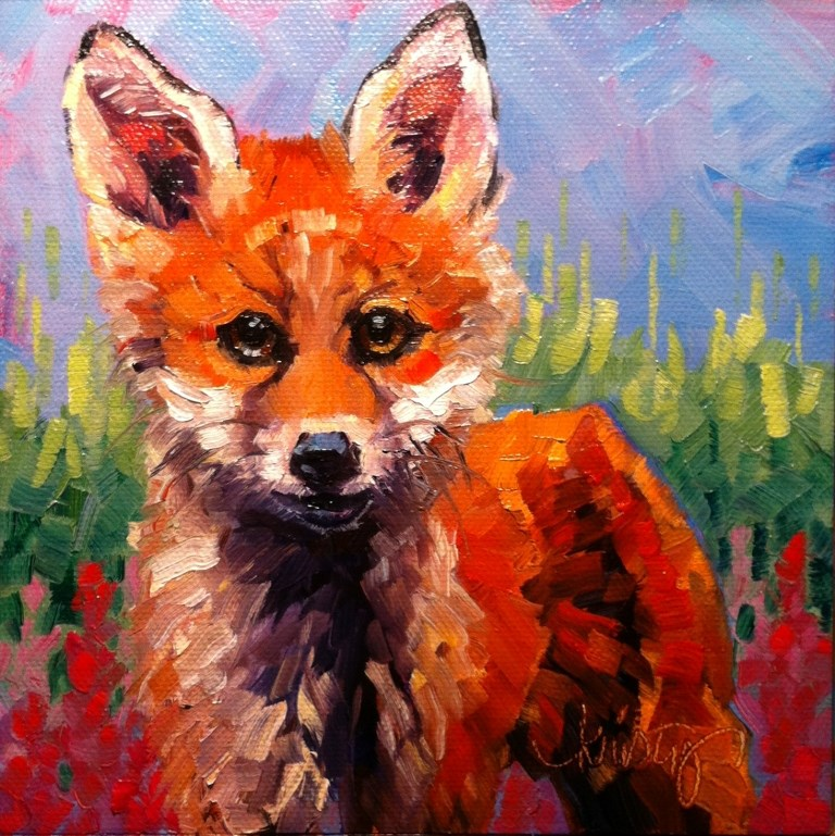 """FOX IN THE FIREWEED"" original fine art by Kristy Tracy"