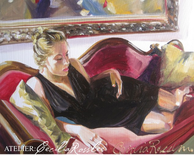 """Red Chaise"" original fine art by Cecilia Rosslee"