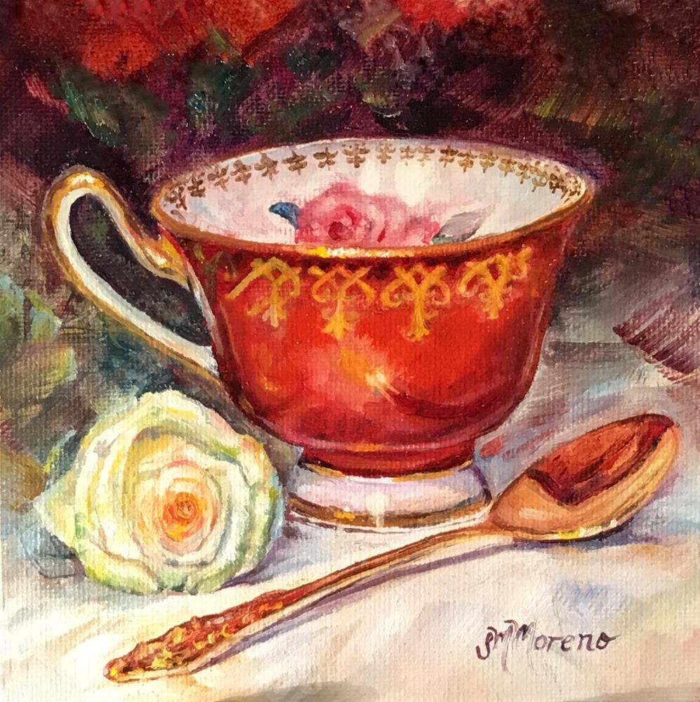 """Prince Albert Teacup"" original fine art by Susan McConnell Moreno"