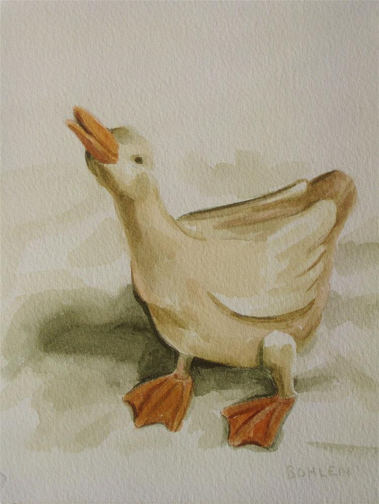 """Puddle duck"" original fine art by Priscilla Bohlen"