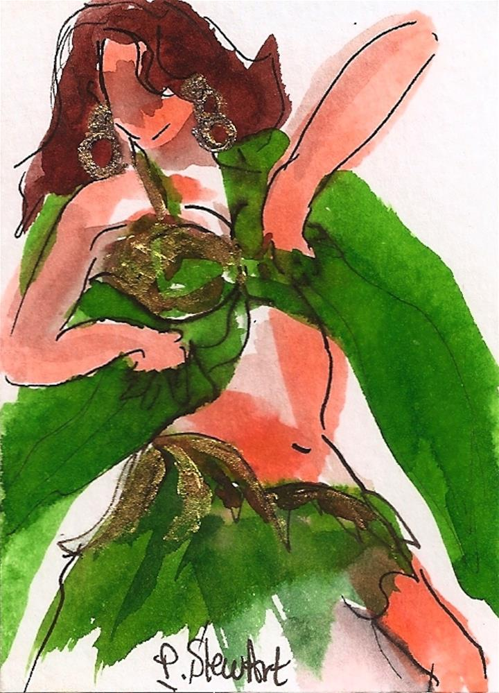 """ACEO Bellydancer #21 in a Series, Watercolor & pen, Original, not a print"" original fine art by Penny Lee StewArt"