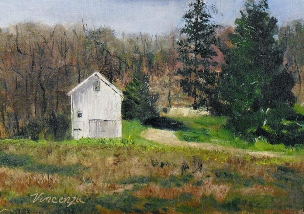 White Barn ~ 5x7~ oil on linen panel original fine art by Vincenza Harrity