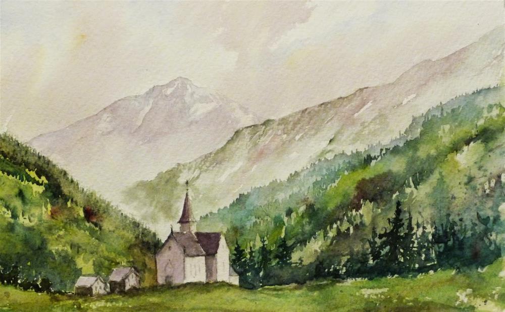 """Mont Blanc Refuge"" original fine art by Peter Wellington"