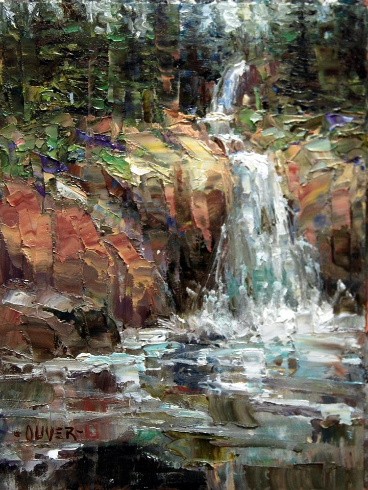 """Waterfall at Sylvan Pass - Yellowstone."" original fine art by Julie Ford Oliver"