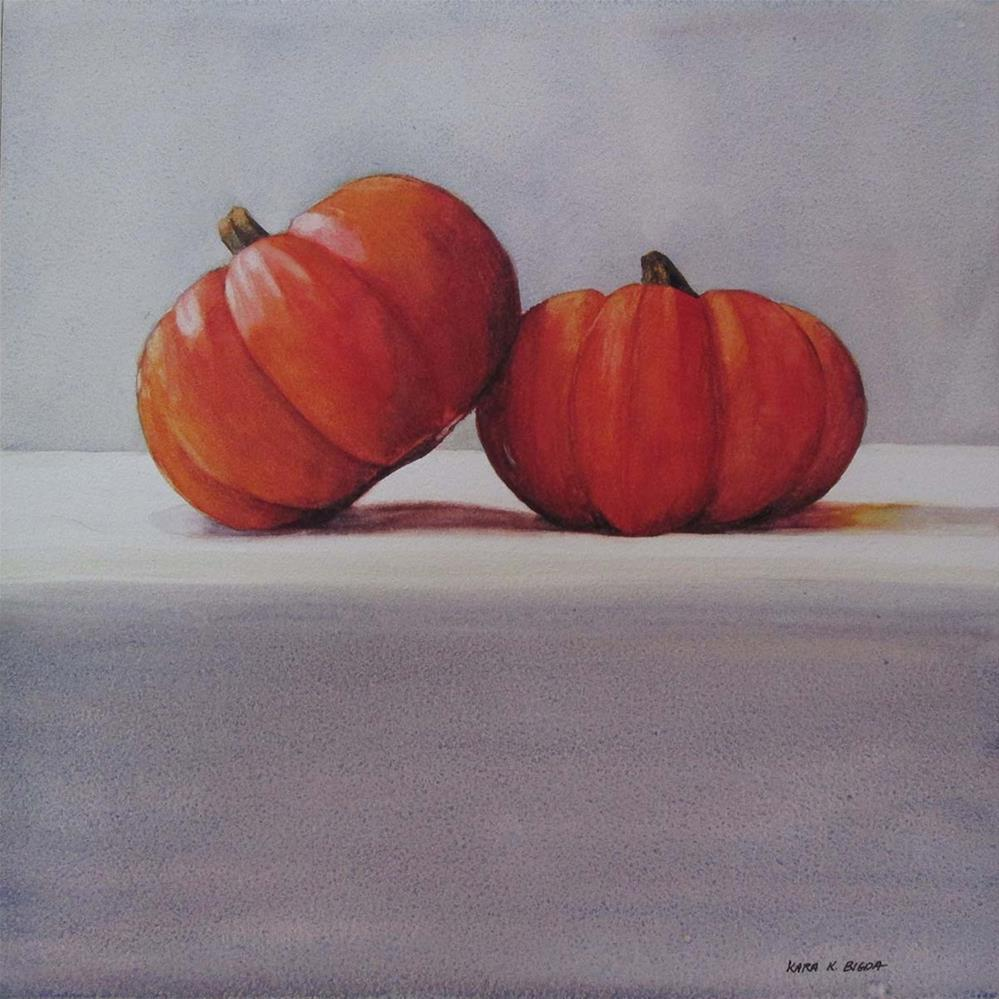 """Pumpkin Pals"" original fine art by Kara K. Bigda"
