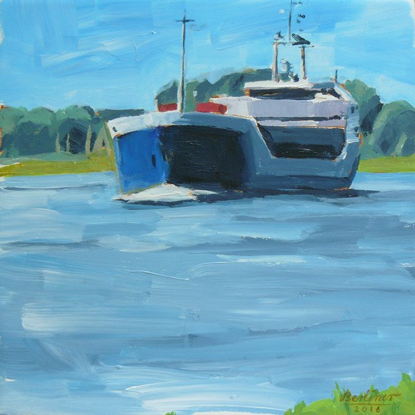 """050 Das blaue Schiff"" original fine art by Anja Berliner"