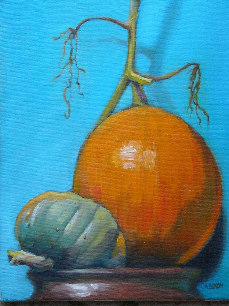 """Happy Pumpkin: Fall Pumpkin With Aqua"" original fine art by Christine Angelotta Dixon"