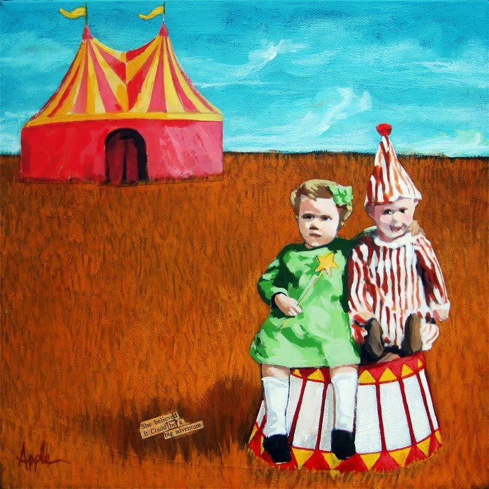 """Big Dreams Circus adventure mixed media painting"" original fine art by Linda Apple"