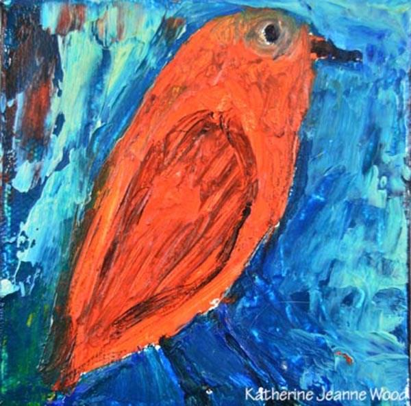 """Orange Bird Oil Painting No 20"" original fine art by Katie Jeanne Wood"