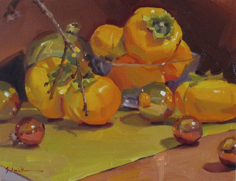 """Persimmon and Christmas Ornaments not my most original painting title to date, but hey."" original fine art by Sarah Sedwick"