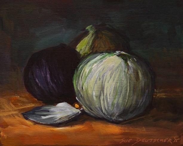 """""""Three Onions"""" original fine art by Sue Deutscher"""