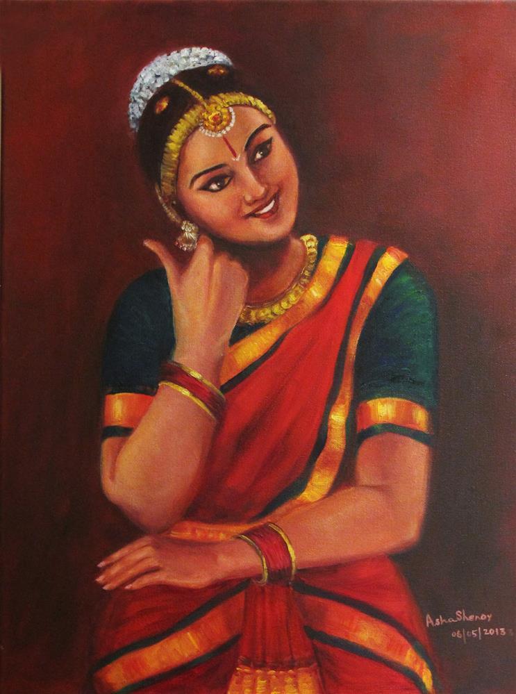 """Bharathanatyam dancer -3"" original fine art by Asha Shenoy S"