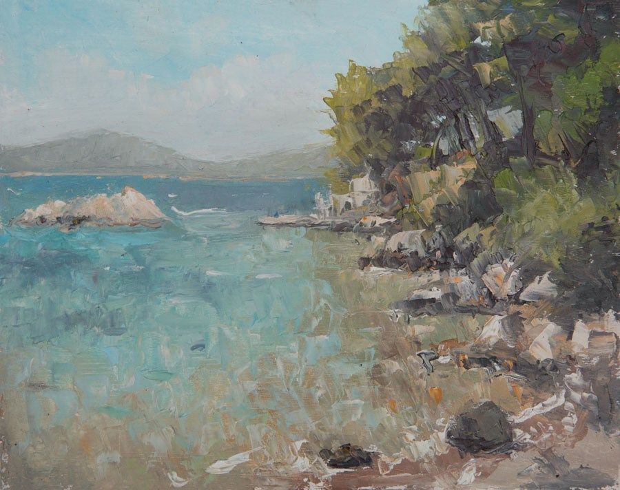 """Aegean Bay"" original fine art by Jethro Knight"