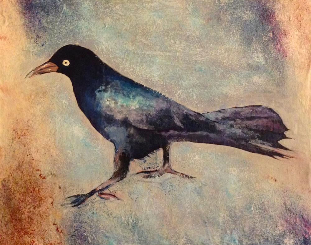 """Beach Crow"" original fine art by Debbie Yacenda"