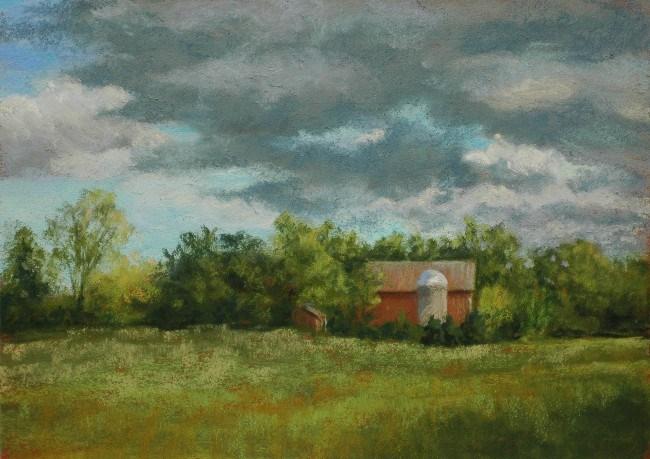 """""""Red Barn with Clouds"""" original fine art by Susan Klabak"""