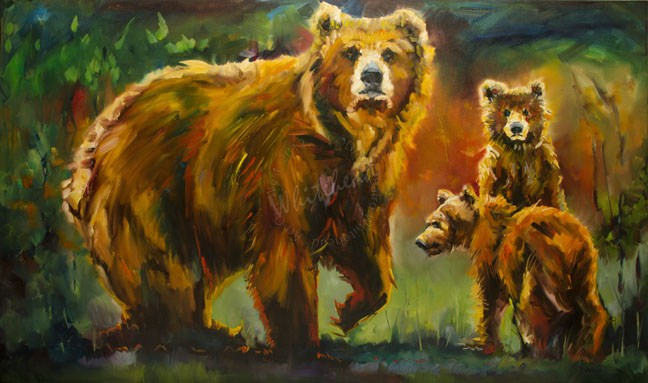 """FAMILY LOVE BEAR DIANE WHITEHEAD FINE ART OIL PAINTING"" original fine art by Diane Whitehead"