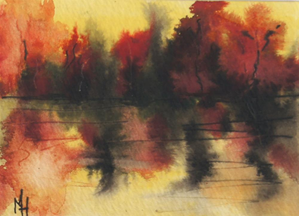 """Lske Sunset Abstract ACEO"" original fine art by Marion Hedger"