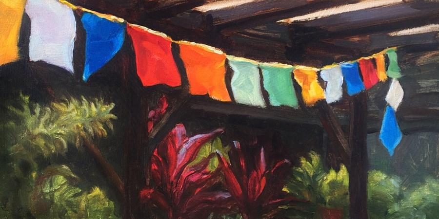 """Flags of Prayer"" original fine art by Joanne Hopper"