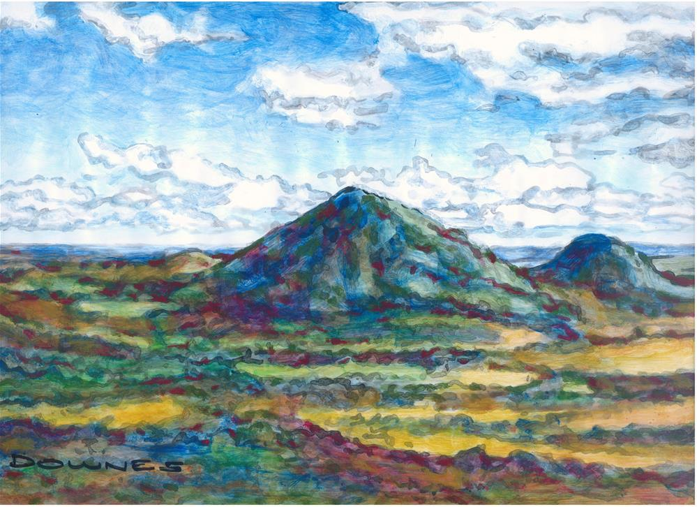 """099 GLASSHOUSE MOUNTAINS 3"" original fine art by Trevor Downes"