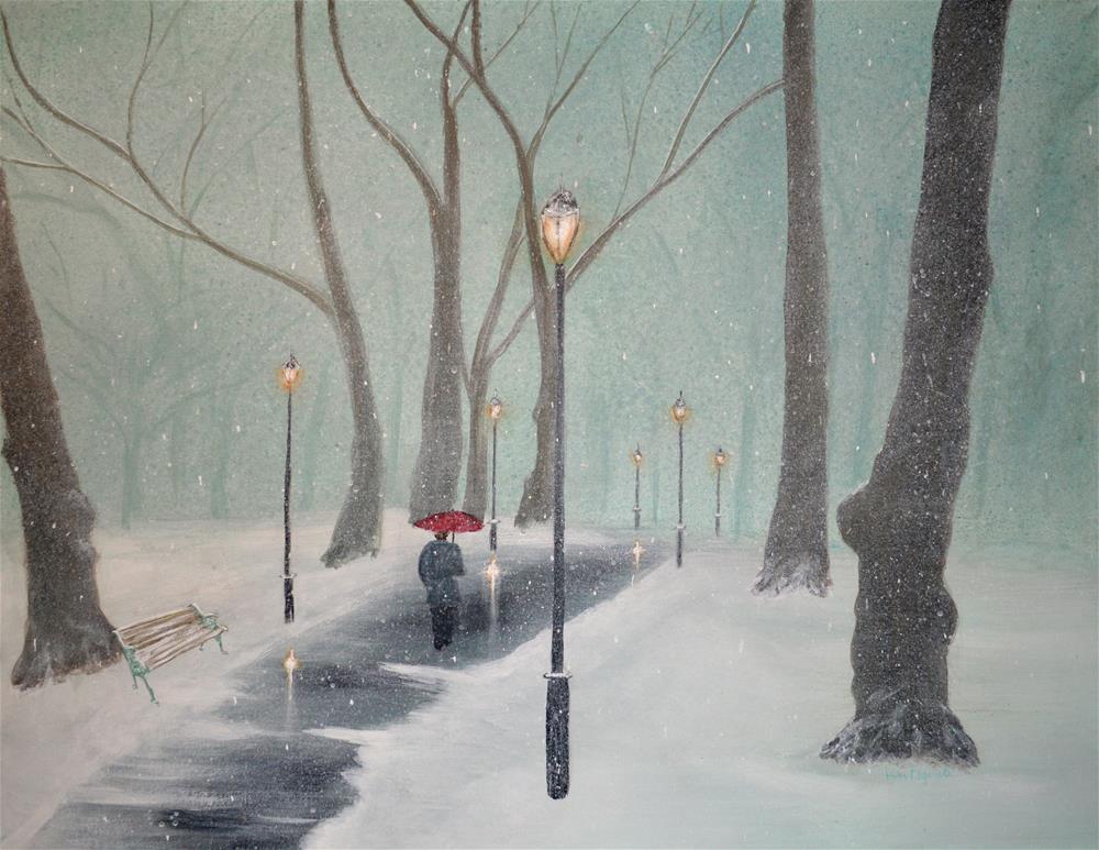 """Snowfall In The Park"" original fine art by Ken Figurski"