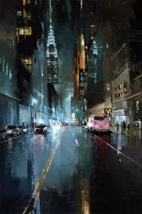 """Evening in NYC -II"" original fine art by Victor Bauer"