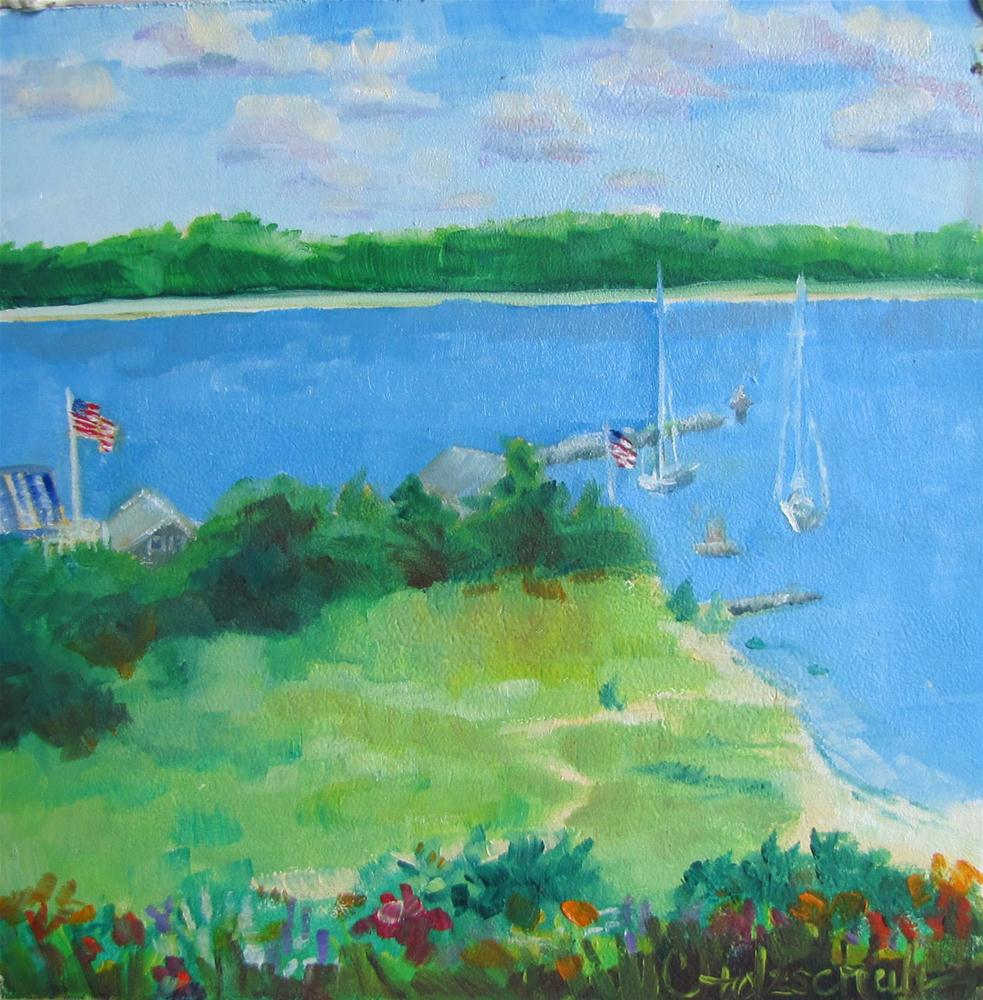 """Megansett Bay oil 6x6 $100"" original fine art by Christine Holzschuh"