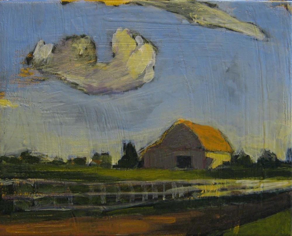 """Goodnight Barn"" original fine art by Kristina Davidson"