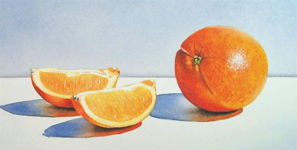 """Orange and Two Slices"" original fine art by Jacqueline Gnott, TWSA, WHS"