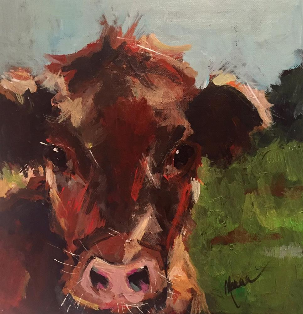 """""""How Now, I'm a Brown Cow"""" original fine art by Marcia Hodges"""