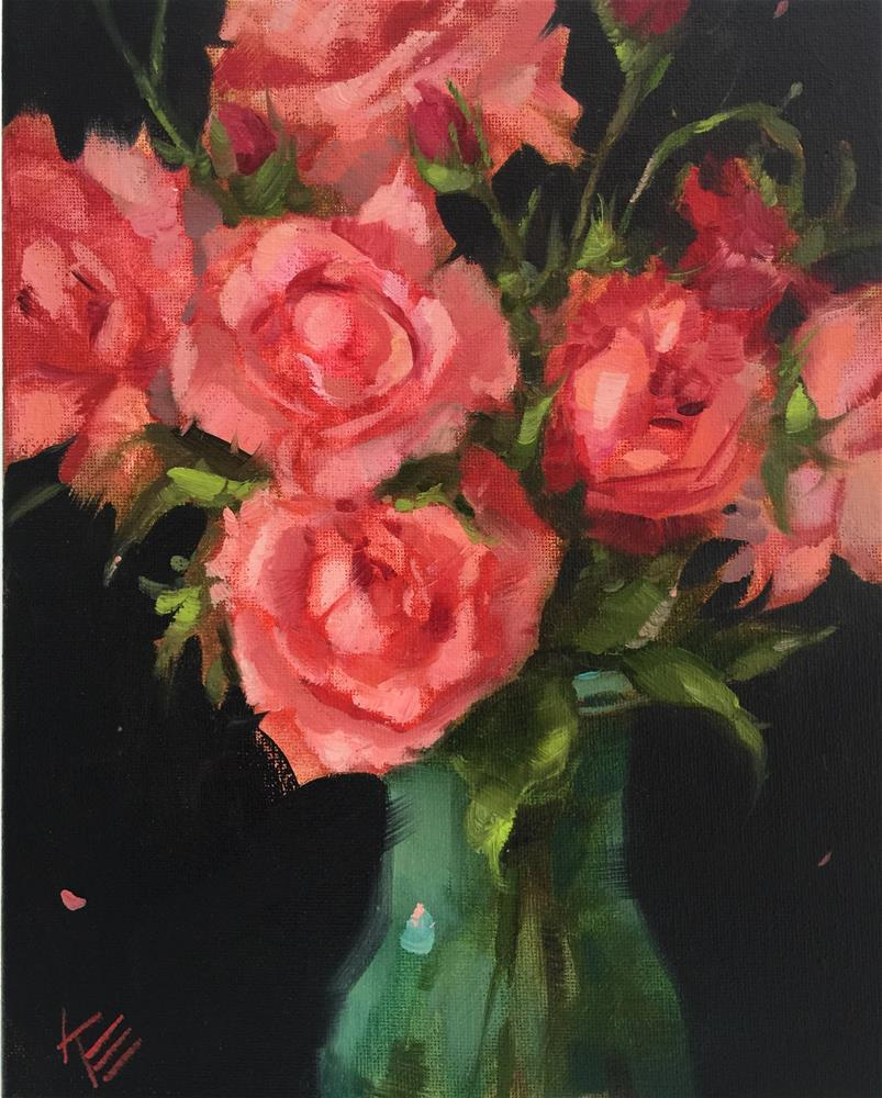 """Pink Roses 8x10 oil on canvas"" original fine art by Krista Eaton"