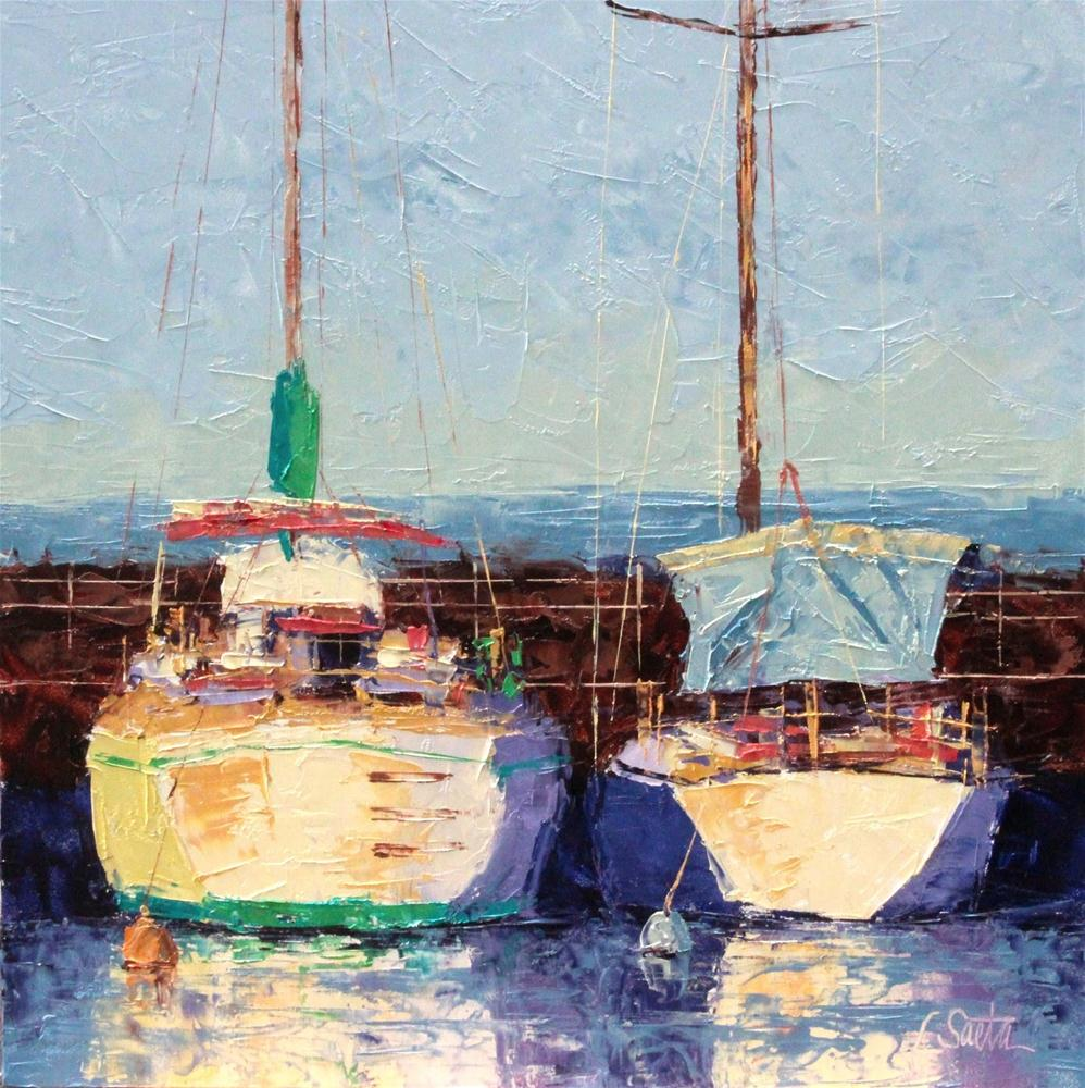 """Sunlit Harbor - SOLD"" original fine art by Leslie Saeta"