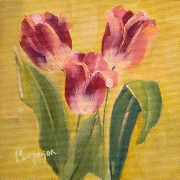 """Three Hot Pink Tulips"" original fine art by Roseanne Campagna"