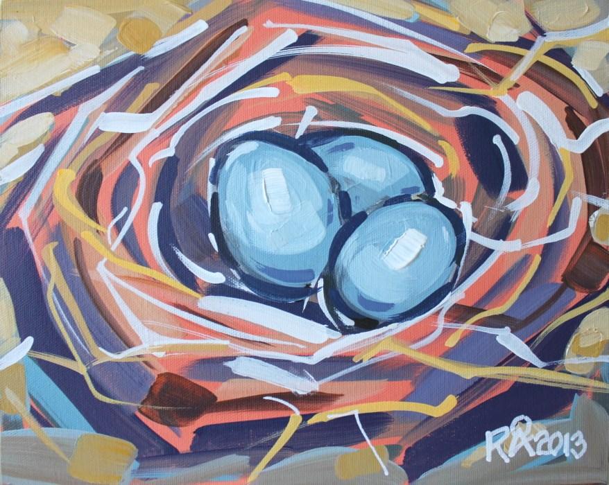 """Bird's Nest Abstraction 12"" original fine art by Roger Akesson"