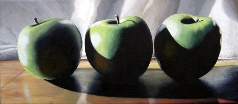 """Apple Trio"" original fine art by Lauren Pretorius"