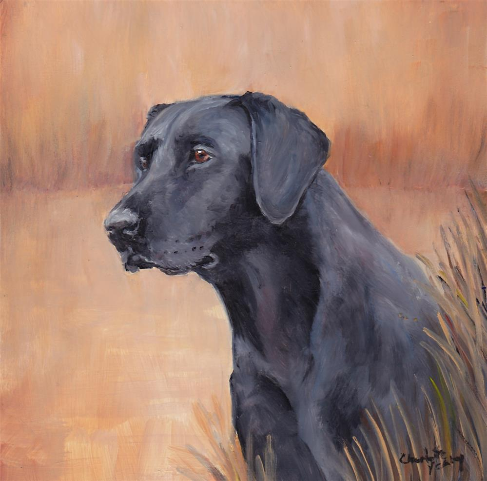 """Black Labrador Retriever Profile"" original fine art by Charlotte Yealey"
