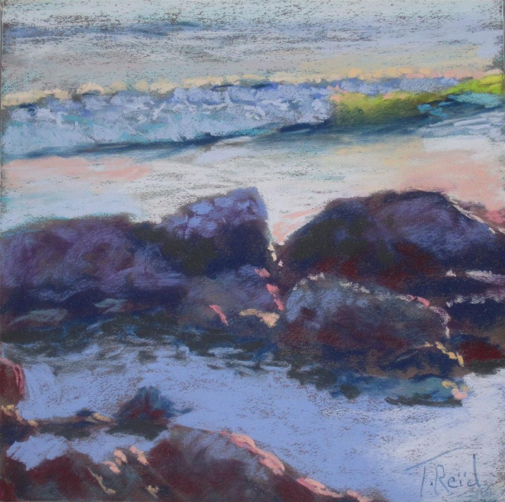"""Back lighted Coastal Rocks"" original fine art by Toby Reid"