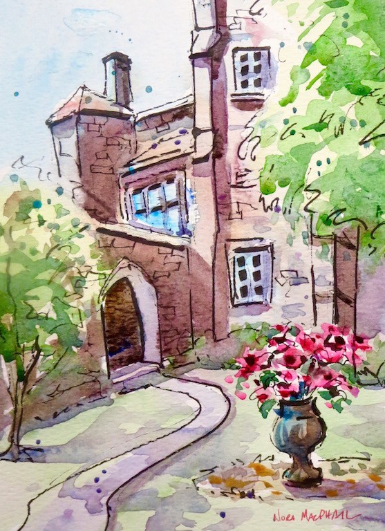 """cozy courtyard"" original fine art by Nora MacPhail"
