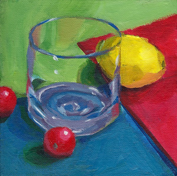 """Glass, Lemon, Tomatoes"" original fine art by J M Needham"