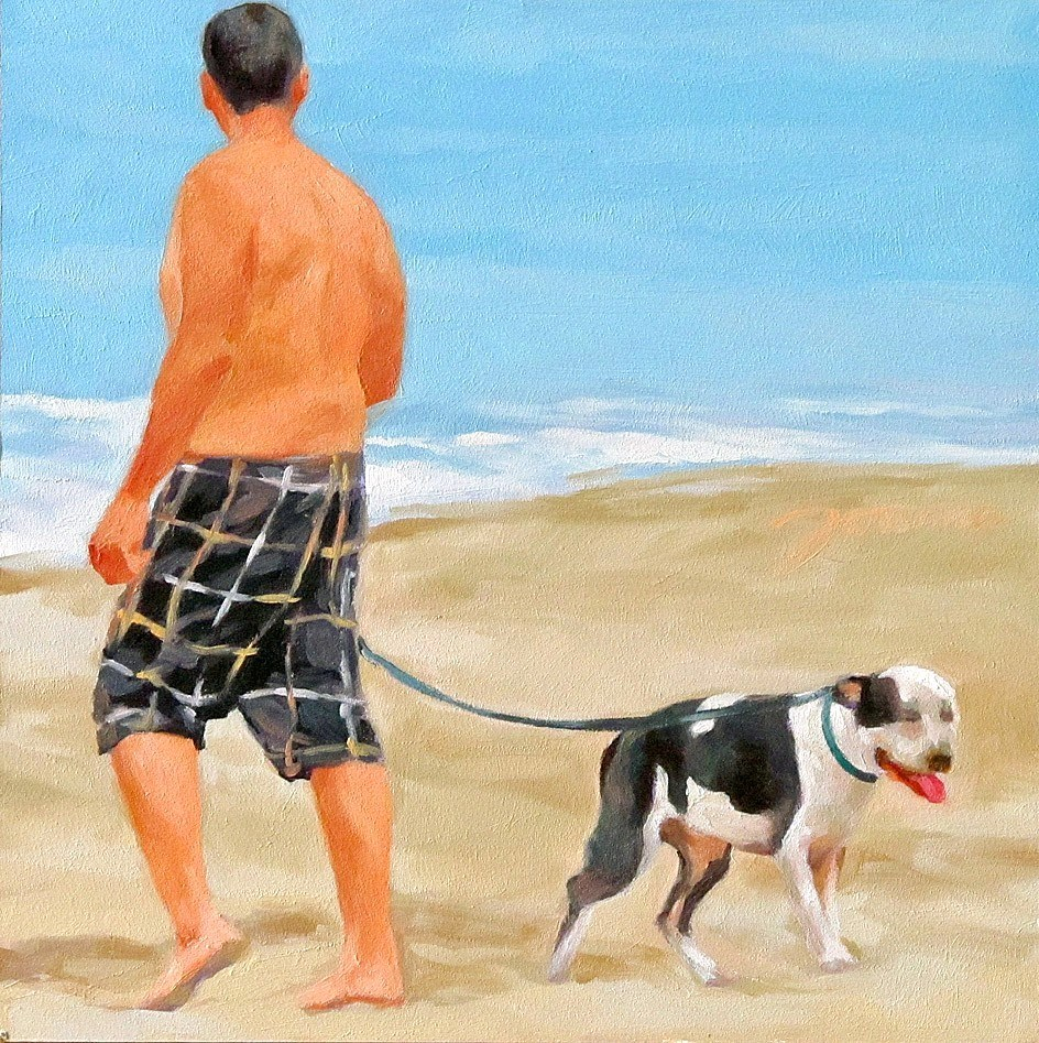 """Call It A Day--Series Painting of Dog & Owner"" original fine art by Joanna Bingham"
