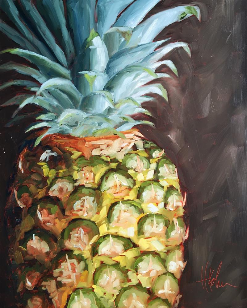 """Plucky Pineapple"" original fine art by Hallie Kohn"