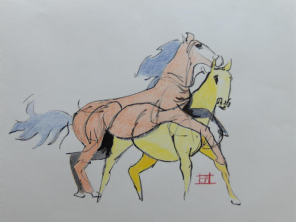 """Running Horses"" original fine art by Arron McGuire"